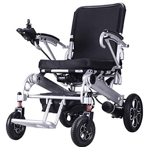 Silla de Ruedas eléctrica Plegable Freno electromagnético Rueda Trasera Antideslizante Scooter portátil Ligero Adecuado para Personas Mayores y discapacitadas