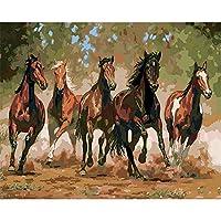 DIYデジタル絵画による数字パッケージ馬ペンティアム油絵壁画キット着色壁アート画像ギフトフレームレス40×50センチ