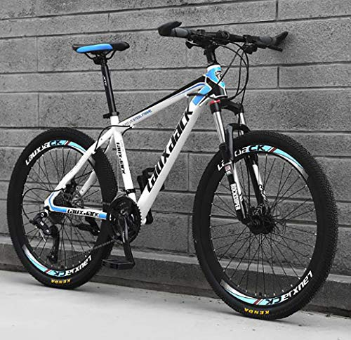 HIRUNS Full Mountain Bike,Mens and Womens Professional 21 Speed Gears 26in Bicycle, Twist Shift, White and Blue