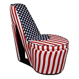 Ore International High Heels Storage Chair, Patriotic Blue and Red Stripes
