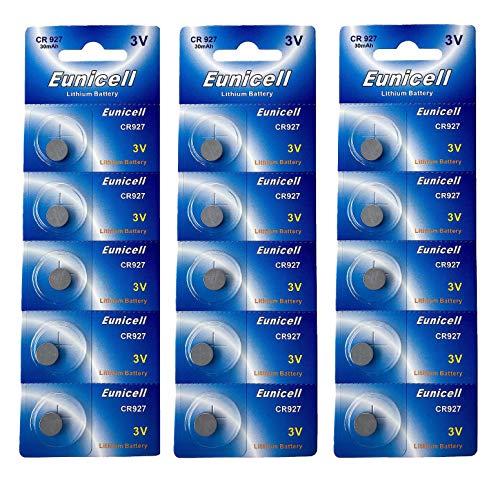 Eunicell 15 x CR927 3V Lithium Knopfzelle 30 mAh (3 Blistercards a 5 Batterien) EINWEG Markenware FBA