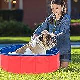 Piscina extra grande para mascotas, antideslizante UV-a prueba de UV CLORURO DE POLIVINILO Piscina de remo plegable con piscina de baño de frisbees para perros, gatos, niños, espesando la piscina port