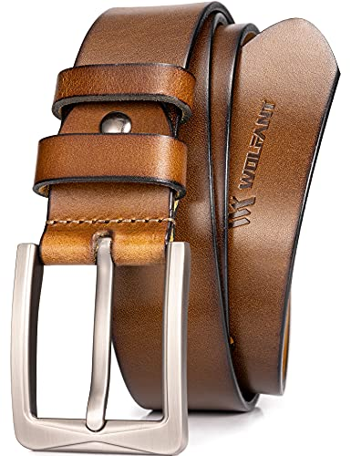 WOLFANT Full Grain Leather Belt for Men,100% Italian Real Solid Leather Casual Jeans belt