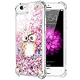 Caka iPhone 6 6S 7 8 Case, iPhone 6S Floral Glitter Case with Tempered Glass Screen Protector Bling Flowing Floating Luxury Glitter Sparkle Soft TPU Liquid Case for iPhone 6 6S 7 8 (4.7 inch) (Owl)