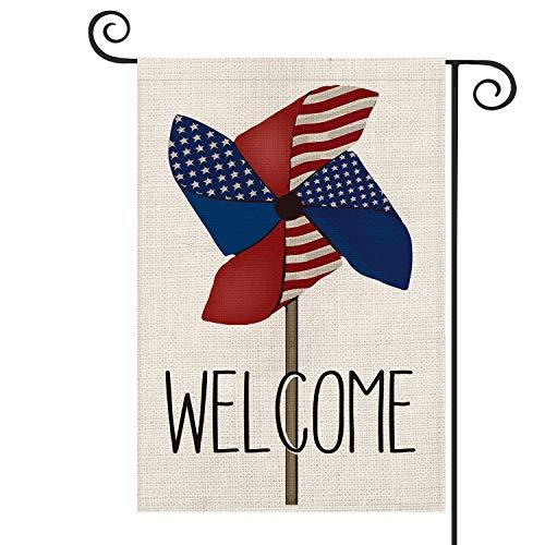 Avoin Patriotische Welcome-Windrad, amerikanische Flagge, Garten-Flagge, doppelseitig, 4. Juli Gedenk-Tag, Unabhängigkeitstag, Hofdekoration, 31,8 x 45,7 cm