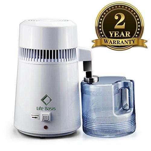 LifeBasis Distillateur d'eau avec Récipient Collecteur de Polypropylène de 4L Un Testeur TDS Fourni comme Cadeau Bleu