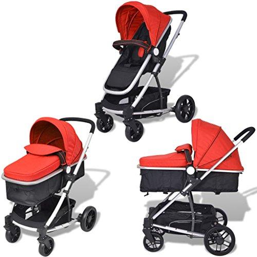 Tidyard 2-in-1 Buggy Kinderwagen, klappbare Kinderwagen Kombikinderwagen für Babys und Kleinkinder, Arretierbare 360 Grad Räder, Geeignet für Kinder unter 15 kg, Rot und Schwarz