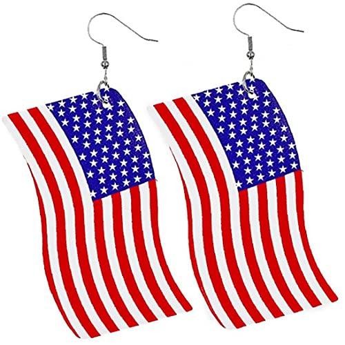 Pendientes De Bandera Americana 4 De Julio Estados Unidos Bandera Americana Patriótica Rojo Azul Estrella Stud Pendientes