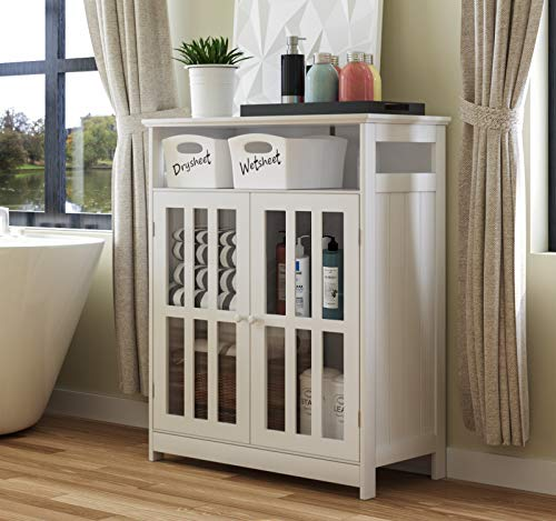"""Tiptiper Utility Storage Cabinet, Bathroom Freestanding Cabinet, Modern Buffet Sideboard with Tempered Glass-Doors & Adjustable Shelf, Kitchen Dining Room Cabinet, 26.4"""" L x 14"""" W x 35.4"""" H, White"""