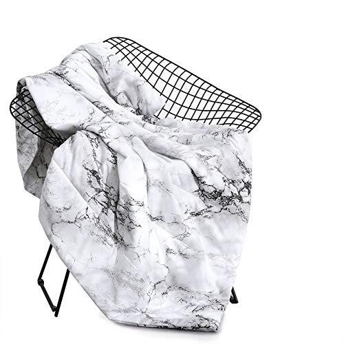 Wake In Cloud - Marble Blanket Throw, Black White and Gray Grey Modern Pattern Printed, Soft Microfiber (45x60)