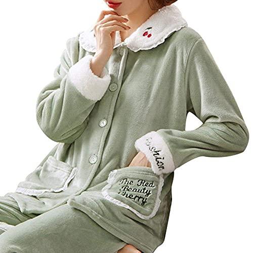 Wohnzimmer Zubehör2 Stück Winter Frauen Verdicken Warme Weiche Pyjamas Weibliche Flanell Pyjamas Set Langarm Nachtwäsche für MädchenPyjamas-D_M_