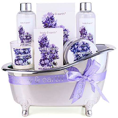 Gift Basket for Women - Bath Spa Baskets Gift Set for Women, Body & Earth 7 Pcs Lavender Bath Gifts for Birthday Mom Friend with Shower Gel, Bubble Bath, Bath Salts ,Body Lotion, Scented Candle