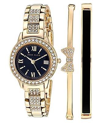 Anne Klein Women's Swarovski Crystal Accented Gold-Tone Bracelet Watch and Bangle Set, AK/3334BKST