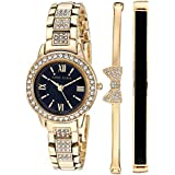 Anne Klein Women's Swarovski Crystal Accented Gold-Tone Bracelet Watch and Bangle Set, AK/3334BKST