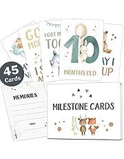 Juego de 45 tarjetas para niños y niñas, con caja de regalo, ideal para nacimiento, bautizo o fiesta de bebé Tarjetas de hitos en inglés.