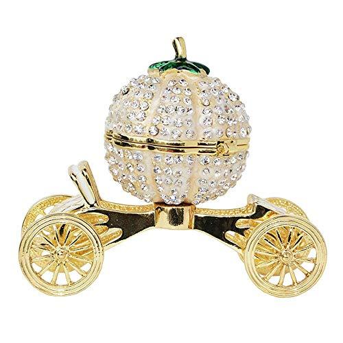 VISTANIA Crystal Bejeweled Kürbis Kutsche Trinket Schmuckkiste Faberge Russischen Hochzeits-Ring Geschenk Favor Dekoration Metallhandwerk Tabletop