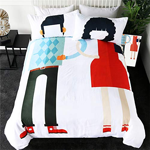Couples Bedding Set Queen Wedding Lovers Duvet Cover Set Dress Up Funny Bedlinen Creative Ropa De Cama 3-Piece,228cmx228cm