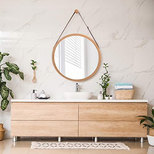 Bathroom Mirror Wall Mount - 15 inch Bamboo Frame Hanging Strap Round Bedroom Dressing Mirror Hook Offered Natural Rustic
