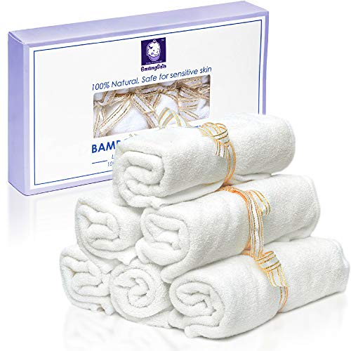 Smiling Gaia Baby Washcloths Made From Organic Bamboo - Luxurious Eco Wash Cloth Set is Perfect for Babies Sensitive Skin - Soft, Thick Reusable Baby Wipes Generously Sized at 10.2 Inches - 6 Pack