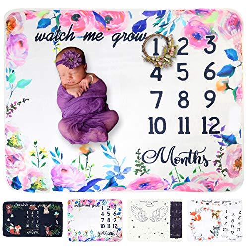 Tianhaik baby maandelijks mijlpaal deken dikke fleece achtergrond Tweelingen mijlpaal deken fotografie achtergrond prop 43inch x 59inch Slinger