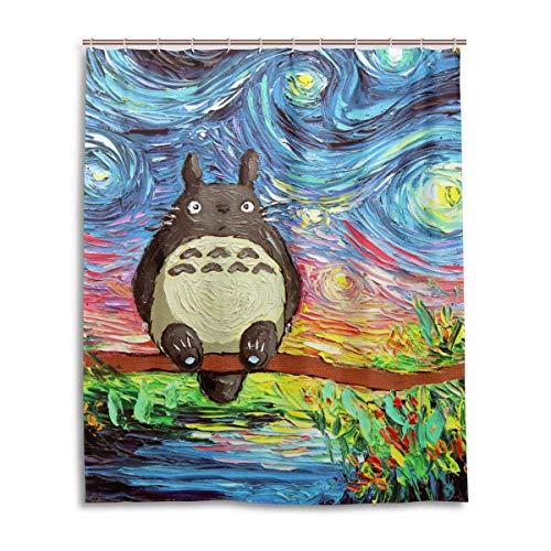 gdingxiantengsubaihuoshang Aja Kusick Die Sternennacht Mein Nachbar Totoro Bad Duschvorhang Wasserdichtes Gewebe Duschvorhänge 60x72 Zoll
