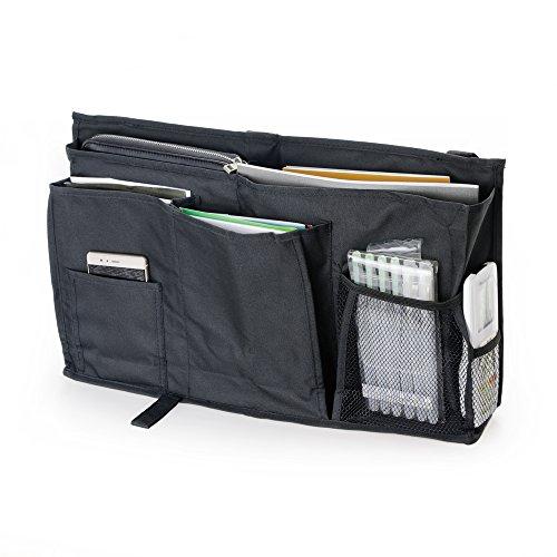 YOUSHARES Caddy hängande organisatör – stor kapacitet 8 fickor sängsida förvaringsväska med krok och ögla-rem för placering på sänggavel, sängskenor, sovsalar, våningssäng och sjukhussäng (svart)