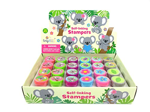 TINYMILLS 24 Pcs Koalas Assorted Stamps for Kids Self Ink Stamps (12 Different Designs) Koala Birthday Party, Koala Party Favors, Goody Bag Fillers, Carnival Gifts, Pinata Filler, Classroom Rewards