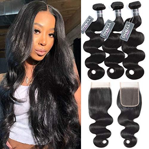"""YYONG 100% Brazilian Body Wave Bundles With Closure Human Hair Bundles With Closure Virgin Cheap 3 Bundles of Brazilian Hair And Lace Closure Deals Weave Hair Human Bundles With Closure 20""""22""""24""""&18"""
