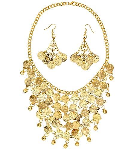 shoperama Schmuck Set Ohrringe Kette Gold-Münzen Göttin Haremsdame Wahrsagerin Zigeunerin Römerin Orient 1001 Nacht Belly Dance Bauchtanz Glöckchen Bollywood