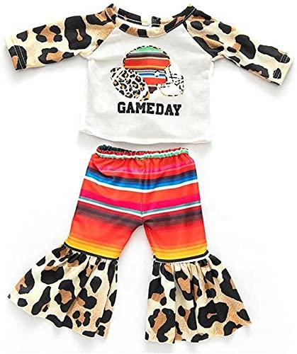 XinYiC Ropa de muñeca Trajes para muñecas americanas de 18 pulgadas Accesorios de disfraz - Leopard manga larga camiseta pantalones