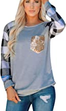 Meikosks Women's Sequins Splicing Pockets T Shirt Long Sleeves Crewneck Tops Plaid Print Easy Tunic Blouses