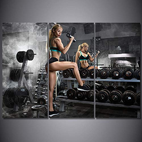 3 Stück Wandkunst Leinwand Bilder HD-Druck 3 Stück Kunst Hanteln Fitness Malerei Bodybuilding heiße sexy Fotobilder Wohnkultur-60 * 80 * 3_with_Frame