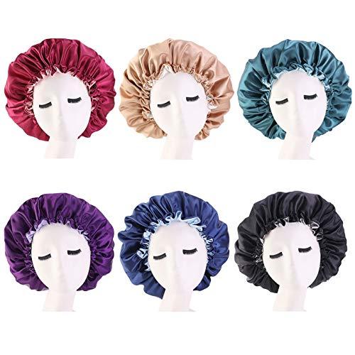 QCLU Reversible Satinado Bonnet, de Doble Capa Ajustable Tamaño del sueño Night Cap, elásticos Cubierta de la Cabeza Sombrero Turbantes for Mujeres y niñas, Pack de 6