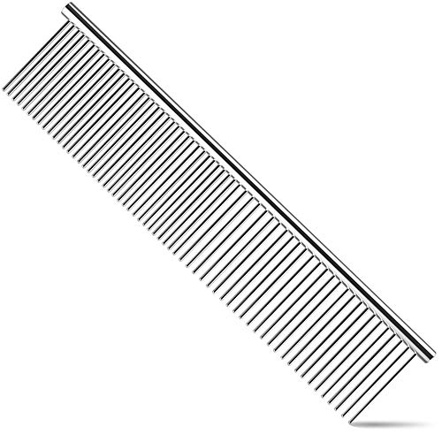 Dog Comb, Cat Comb with Rounded and Smooth Ends Stainless Steel Teeth, Professional Grooming Tool for Removes Tangles and Knots, Pet Comb for Long and Short Haired Dogs, Cats and Other Pets