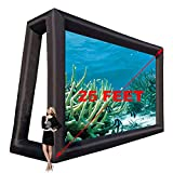 6.35x4m 25ft Inflatable Movie Screen Outdoor Cinema Incl Blower - Seamless Front and Rear Portable Blowup Theater Projection Screen for Churches, Grand Parties, Backyard Pool Fun