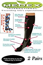 Medex Lab Compression Socks For Men & Women – Knee High, Anti-Swelling & Varicose Veins Graduated Compression Socks Great for Nurses and Work or Sports (2, Black & Grey)