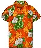King Kameha - Camisa hawaiana para hombre, manga corta, bolsillo frontal, diseño de flores Pequeña flor naranja. L