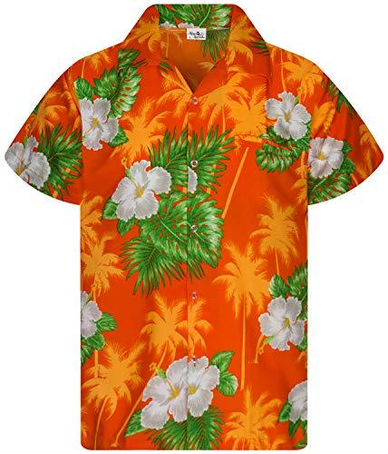 Funky Camicie Hawaiana Bambini Ragazzi Kids, Manica Corta, Print Small Flower, Arancia, 10