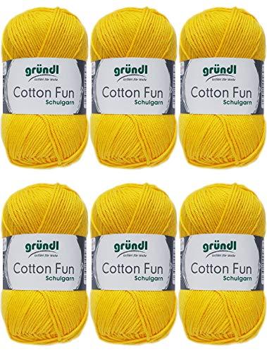 Gründl Cotton Fun Wolle Set 6x 50 Gramm Sonnengelb 04 aus 100% Baumwolle