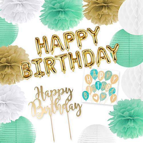 in due Deko Set Happy Birthday Mint Gold – Pompoms, Folienballons, Kuchenstecker & Servietten