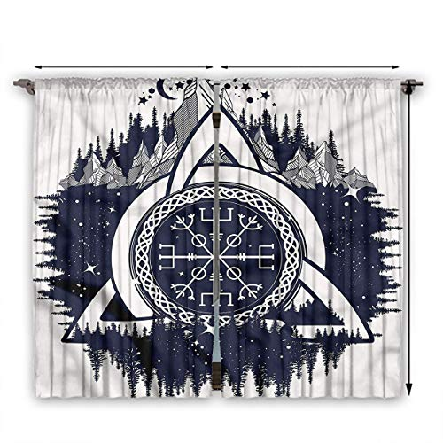 June Gissing Blue and White Curtain Panels Celtic Knot.jpg Nsulated Darkening Curtains W55 x L45