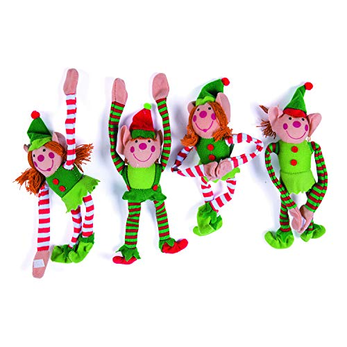 Deluxe Plush Hanging Christmas Elves Party Favors - 12 Pieces