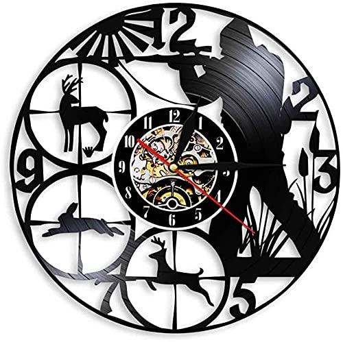 KDBWYC Reloj de Pared de Vinilo 3D silencioso, Reloj de Pared Art Deco único, Reloj de Pared con Registro de Vinilo para Caza, Caza, Mejor Regalo