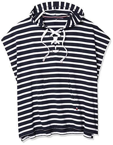 Tommy Hilfiger Damen Striped Hooded Poncho Bademode, Cover-Up, Marineblau/weiß, Einheitsgröße