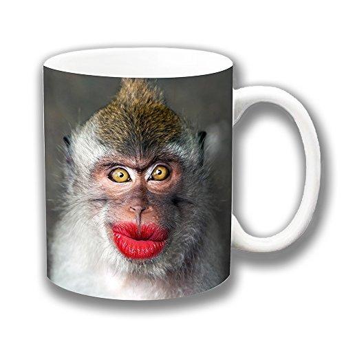 Nette lustige Affe mit Brillanten Rot Schmollende Tasse Klappen Keramik Tasse Kaffee-Einzigartiges Geschenk