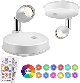 RGB LED Spotlight, Prosperbiz Battery Operated Accent Lights, Wireless LED Puck Light, Dimmable Uplight with Remote, Stick on Anywhere for Lighting up Painting Picture Artwork Closet, 2-Pack