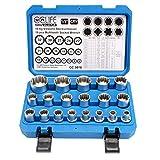 CCLIFE 19 pzs Juego de llaves vaso vasos,Vaso multidiente insertable Gear Lock 8-32mm,Juego...