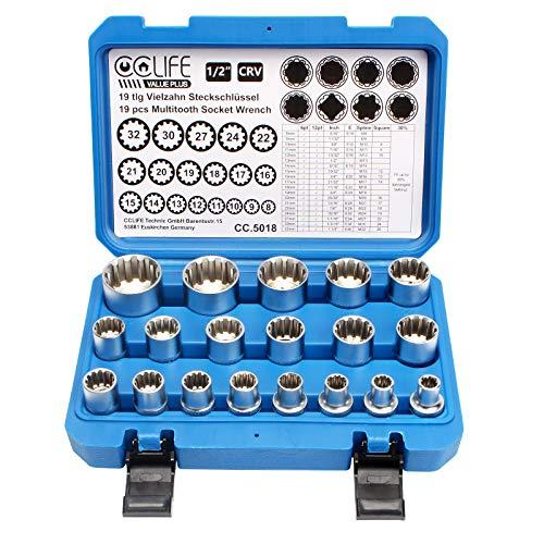 CCLIFE 19 pzs Juego de llaves vaso vasos,Vaso multidiente insertable Gear Lock 8-32mm,Juego de tuercas XZN vasos adecuado para E10-E40/M8-M32,vasos 6 y 12 caras estriados torx,múltiples pulgadas 1/2'