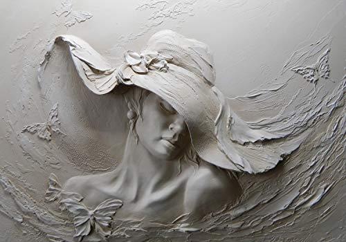 wandmotiv24 Fototapete Skulptur Frau Schmetterlinge Gips Wand S 200 x 140cm - 4 Teile Fototapeten, Wandbild, Motivtapeten, Vlies-Tapeten M4631
