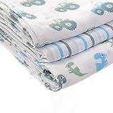 Ziggle bebé de lujo cuadrados de trajes de muselina - grueso de algodón absorbente - azul y blanco